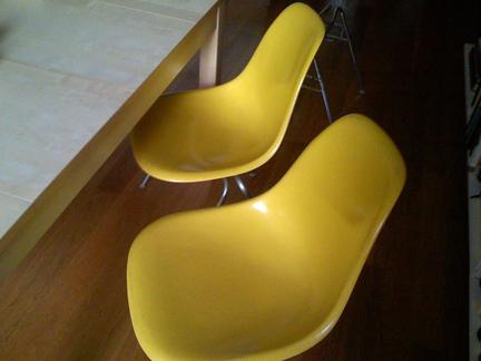 Fiberglass Yellow Chairs