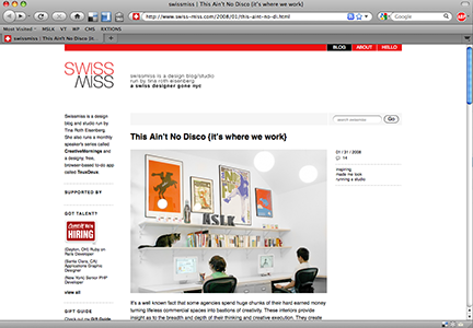 MSLK's Studio on Swissmiss and This Ain't No Disco