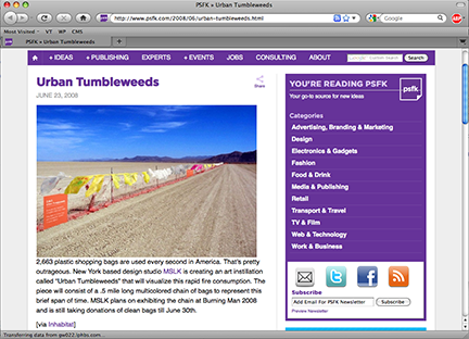 """Urban Tumbleweeds"" is Highlighted by Trend Websites"