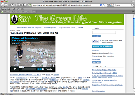 Sierra Club Blogs about MSLK's Awareness Efforts