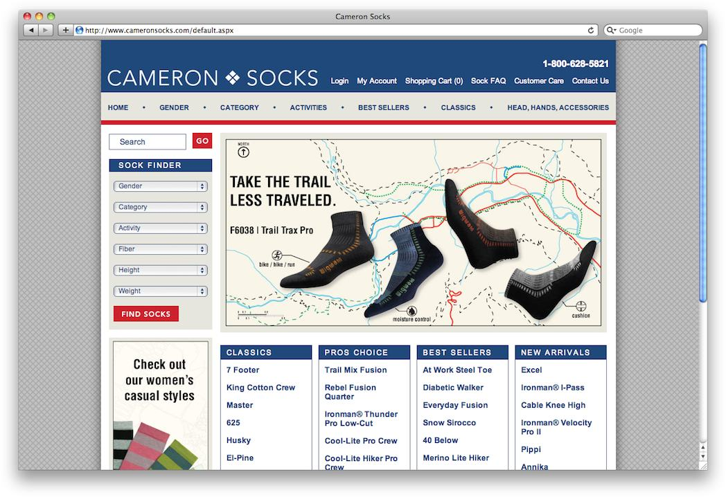 Cameron Socks: Website