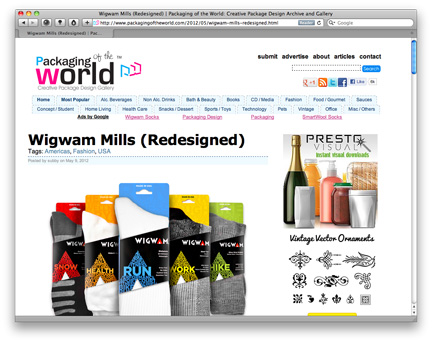 "MSLK's Design for Wigwam Mills Featured on ""Packaging of the World!"""