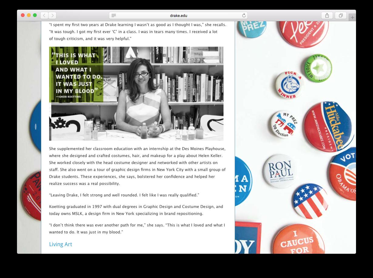 Sheri L Koetting Featured in Drake University Alumni Magazine