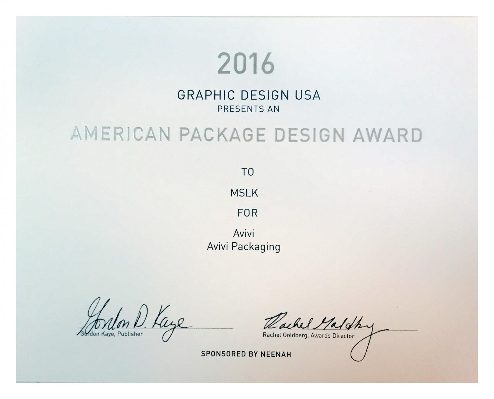 MSLK-Avivi-GDUSA Award